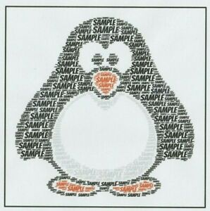 PERSONALISED WORDART PENGUIN BIRTHDAY CARD - BOY/GIRL/CHILD/ADULT - ANY NAME