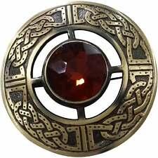 Hombre Celta Broche para Tela Escocesa Kilt Marrón Piedra Antiguo 3 / Pin &