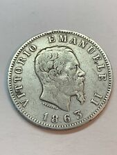 1863, Italy, Victor Emmanuel II. Nice Silver 1 Lira Coin.!!!NO RESERVE!!!(P9D2)