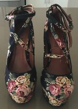 So Gorgeous! I LOVE BILLY Floral Canvas Ankle Strap Platform Pumps Size 37