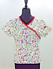 Womens Dickies Scrub Crop Top Summer Print NWT XS Mock Wrap Flip Flops Palms