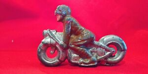 Vintage 1930s Barclay MANOIL Soldier w Goggles  Motorcycle Toy Harley Indian