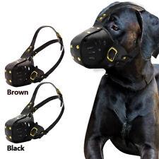 Adjustable Leather Dog Muzzle for Medium Large Dog Bite Bark Mouth Safety Muzzle