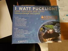 (1) 1 Watt Polished Brass Puck LED Light with 6 WattTransformer