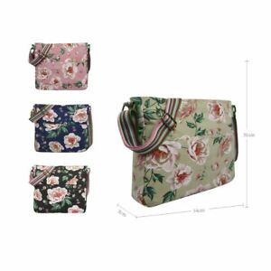 New Flower Pattern CrossBody Bag Multipurpose Shoulder Canvas Print Bag