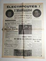 N392 La Une Du Journal L'humanité 20 juin 1953 Eisenhower