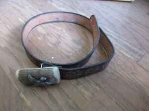 "Vintage Antler & Pewter Duck Belt Buckle & 40"" Leather Tooled Belt Hunting GUC"