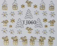 Christmas SILVER GOLD Snowflakes Stars Design 3D Nail Art Stickers Decals Y60