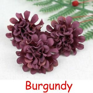 Bulk 20-100pcs 4cm Artificial Flower Silk Hydrangea Heads Carnation Fake Flowers