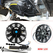 Universal for Car 80W Electric Radiator Cooling Fan Kit 7'' 12V Push Pull Black