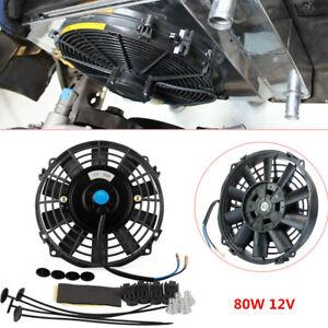 Universal for Car 80W Electric Radiator Cooling Fan Kit 7'' 12V Push Pull Black
