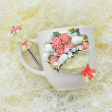 Decorated flower rose mug & spoon set handmade Unique Funny Personalized gift
