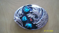 Silver Belt Buckle with Turquoise, Coral, and Eagle design.