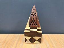 Sheesham Wood Pyramid Incense Sticks Burner Holder Ashcatcher Home Deco IF172
