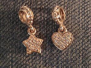 Preloved Retired Pandora 14kt Gold Pave Star and 14kt Gold Pave Heart Dangles