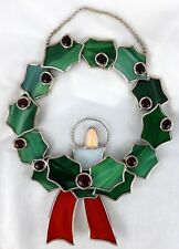 """Stain Glass Christmas Wreath Holly leaves berries 11"""" window hang"""