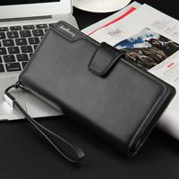 Men's Leather Wallet Bifold ID Card Holder Purse Checkbook Long Clutch Billfold