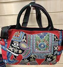 Elephant Design Shoulder Bag With Hard Carrying Handle. Heavy Duty Cotton