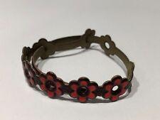 JUS - Pulsera de Piel con Flores en Rojo - Red Flowers Leather Bracelet