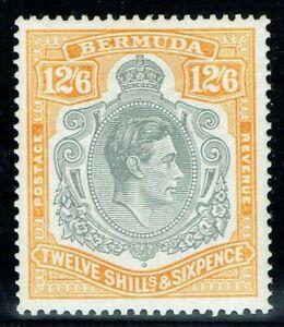 Bermuda 1938 SG120b 12/6 Grey & Pale Orange P14 Leaf Flaw Fine M/M Cat. £110.00