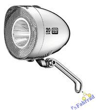 XLC LED Scheinwerfer Retro 20 Lux silber  für Nabendynamo mit Schalter Fahrrad