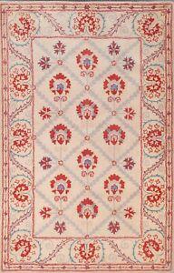 Contemporary Geometric Ivory Oriental Area Rug Modern Hand-Tufted Carpet 6x8 New