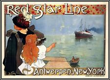 Red Star Line 1899 Antwerpen New York Vintage Poster Print Retro Ocean Liner Art