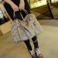 Women's Winter Faux Fur Handbags Large Messenger Shoulder Bags Satchel Casual
