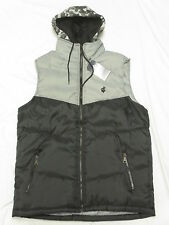$52 NWT NEW Mens Rocawear Hooded Puffer Vest Jacket Black Grey Urban Size M N283