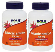 2x NOW Foods Niacinamide (B-3) 500mg 100 Caps Made In USA FREE SHIPPING