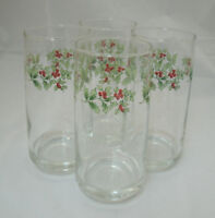 "Gibson Designs Everyday CHRISTMAS CHARM Set of 4-6"" 12 oz Tumblers Holly & Berry"