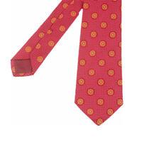 Kiton Krawatte 100% Seide Rot/Gelb gemustert (ehem. UVP € 169,00)