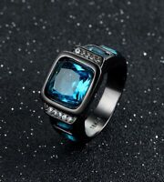 Mens Size 7-11 Black Gold Filled Blue Sapphire Wedding Engagement Ring Gift