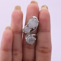 Handmade 925 Solid Sterling Silver Indian Jewelry Moonstone Gemstone Ring Size 7
