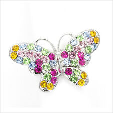 Butterfly Insects Cocktail Rings Crystal Rhinestone Multicolor Silver Tone Party