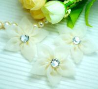 """Organza 1 3/4""""Flower w/ Rhinestone Appliques x 25 Beige~Trim/Craft"""