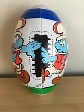 "VTG 80s Smurfs Rugby Plush Football Smurf Figure Toy Peyo Ball 9"""