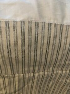 Blue and Cream Striped Twin Thick Cotton Bed Skirt Ticking French Country Farm