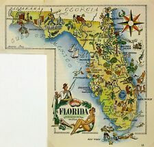 Florida Antique Vintage Pictorial Map (Postcard size)