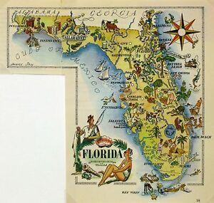 Florida Antique Vintage Pictorial Map  (Postcard size)