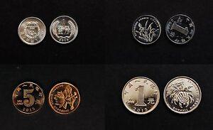 CHINA 2015 Circulation coins Complete Set X4 Coins -1YUAN, 5JIAO,1JIAO,1FEN UNC