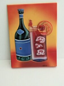Will Rafuse 3D Bottle and Dressed Cocktail Wall Mounted/Bar Plaque 5 3/4 x 7 3/4