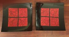 Pair Of Vintage Vietnamese Red And Black Lacquer Wall Decor Plaques