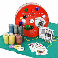 Texas Hold'em Poker Set avec 2 Jeux, 240 Jetons,Chiffon Vert,Boutons Positions