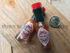 2 x MINI RED TABASCO SAUCE BOTTLE - MRE Hot Pepper Tobassco Sauce Ration Pack