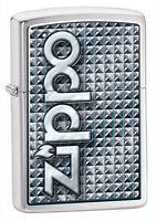 Zippo 3D Abstract Brushed Chrome Lighter, Item 28280, New In Box