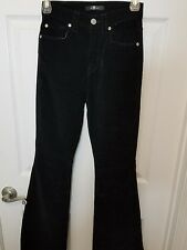 7 For All Mankind junior Black Womens Corduroy Classic Rise Flare Jeans 24