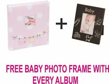 "Large Baby Girl Pink Traditional PhotoBook Hold 500 photos 6x4""+FREE BABY FRAME"