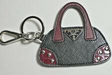 Prada Hand Bag Charm / Key Ring Leather & Silver Purse Fob Never Used