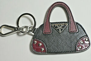 Prada Hand Bag Charm / Key Ring Leather & Silver Purse Fob Never Used
